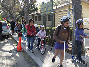 Kids walking, biking, scooting to school