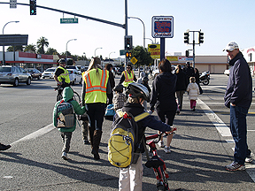 Kids walking and biking to school in Culver City