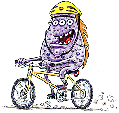 Purple Monster on a bike