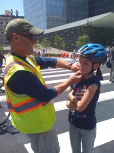 Helmet fitting at CicLAvia