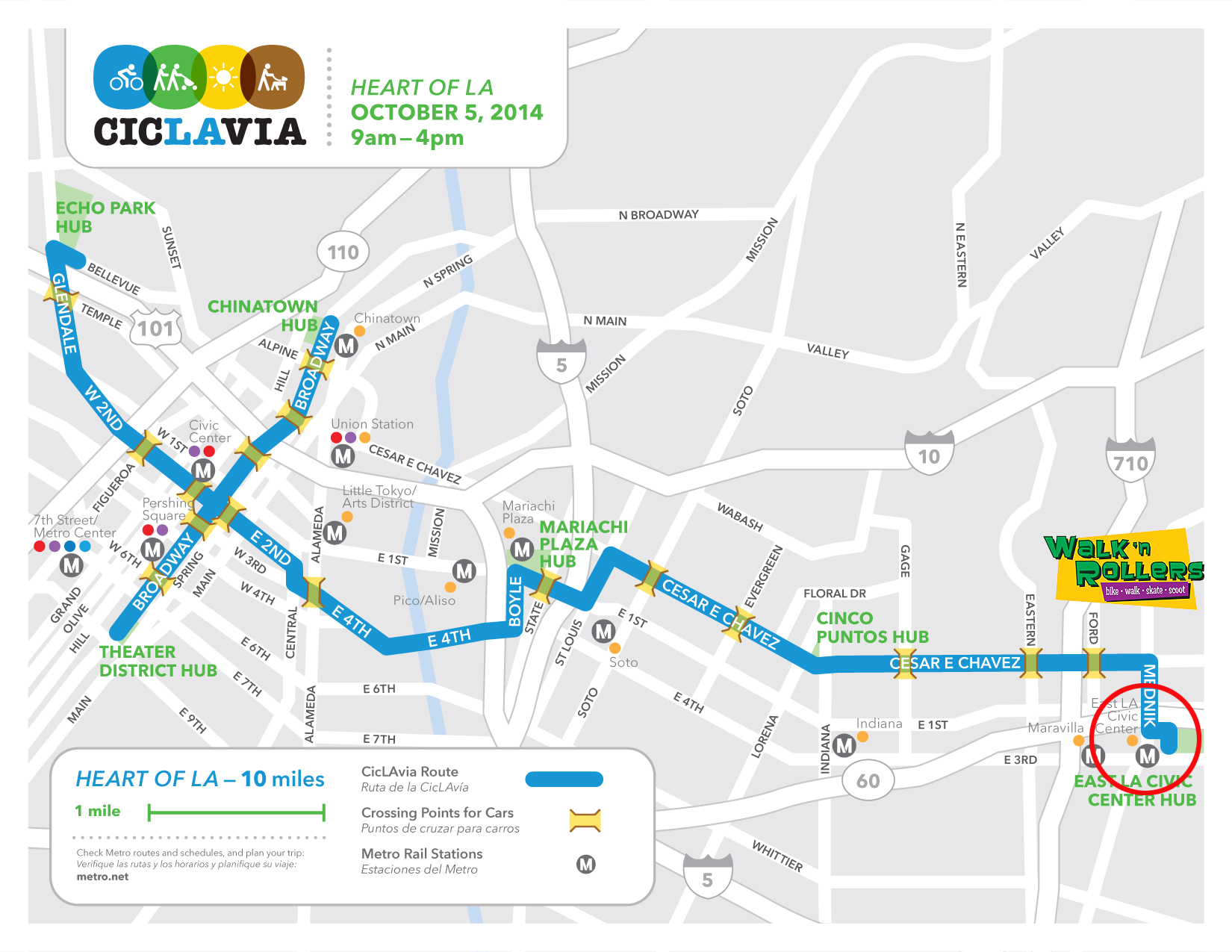 Walk 'n Rollers - CicLAvia Map