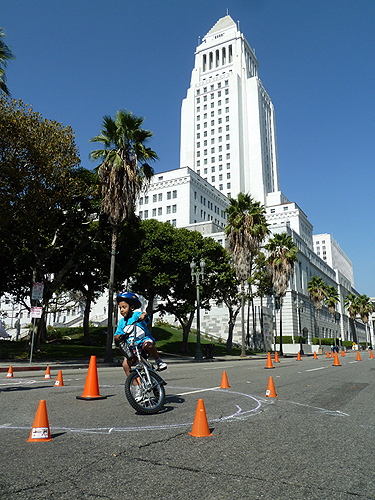 Bike skills course at City Hall during CicLAvia.