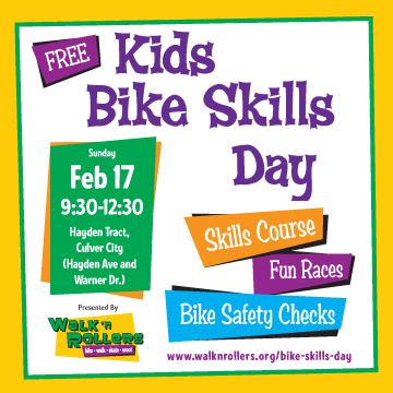 FREE Kids Bike Skills Day, 2/17/13, Culver City, Skills Course, Bike Checks, Kids Fun Races