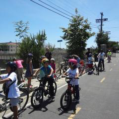 Group ride along Ballona Creek